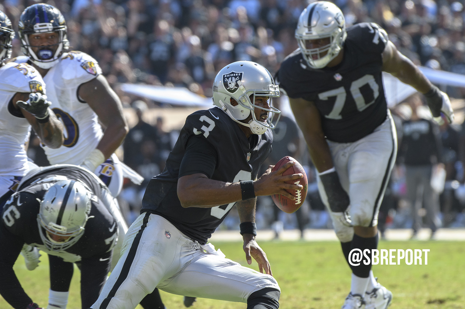 Injured Raiders fall to Ravens, drop third straight game